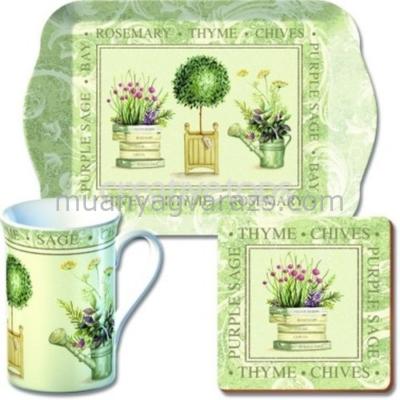 C.T.GS7/1900 Time for Tea szett(tálca,bögre 350ml,parafa poháralátét)Topiary