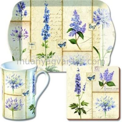 C.T.GS7/1954 Time for Tea szett(tálca,bögre 350ml,parafa poháralátét)Etude de Fleurs