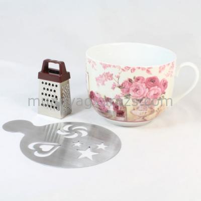 D.MCM-R2 Bögre csokireszelővel,sablonnal,rózsaszín rózsás