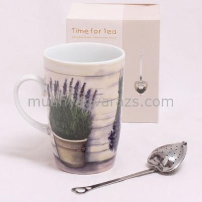 D.MSZ-L1 Bögre dobozban szív teaszűrővel,Cserepes levendulás,porcelán,300ml