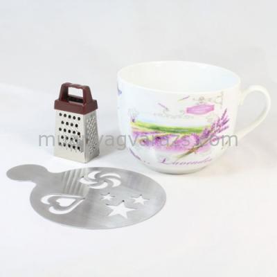 D.MCM-L5 Bögre csokireszelővel,sablonnal,Levendulamezős,porcelán,400ml