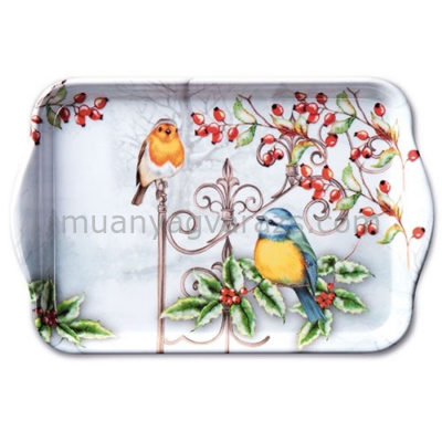 AMB.33710535 Birds & Holly műanyag kistálca 13x21cm