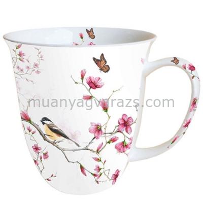 AMB.18411215 Bird & Blossom white porcelán bögre 0,4l