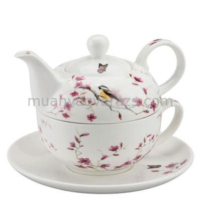 AMB.18111215 Bird&Blossom white porcelán egyszemélyes teás + alj 0,3l