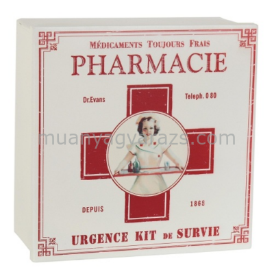CLEEF.60353 Fém gyógyszeresdoboz 22x22x9cm,Pharmacie