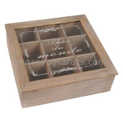 CLEEF.6H0050 Fa teásdoboz, üveg tetővel 9 rekeszes, 24x24x8cm,barna