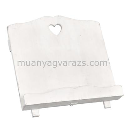 CLEEF.6H0202W Fa szakácskönyvtartó 33x18x29cm,fehér