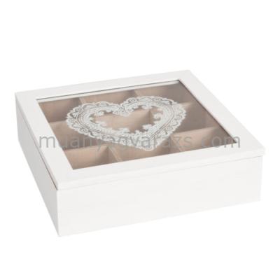 CLEEF.6H0539 Fa teásdoboz üveg tetővel 24x24x7cm,szív festéssel