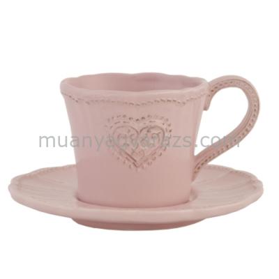 CLEEF.HRTKS Csésze + alj szives 15x8cm, rózsaszín