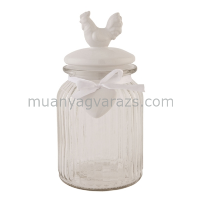 CLEEF.6GL0871 Tároló üveg kerámia tetővel 11x18cm,kakasos