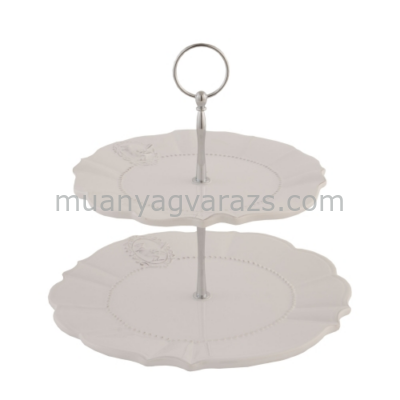 CLEEF.6CE0276 Porcelán emeletes tortatál madaras 21x23cm