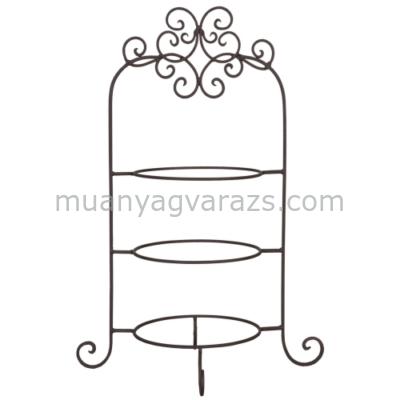 CLEEF.6Y1249 Fém asztali tányértartó 3-as 36x28x54cm,barna