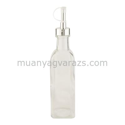 CLEEF.6GL0952 Üveg, fém kiöntővel 6x6x26cm,sima