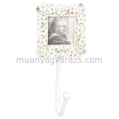 CLEEF.2F0028 Képkeret fogassal, 5x11x4cm,fém,fehér,virágok kövekkel