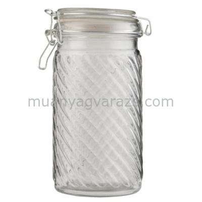CLEEF.6GL1342L Tároló üveg csatos 11x20cm, bordás