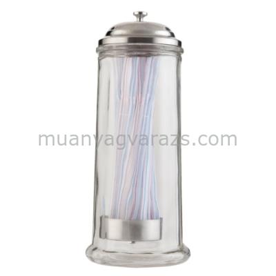 CLEEF.6GL1344 Tároló üveg szívószál tartóval 11x28cm