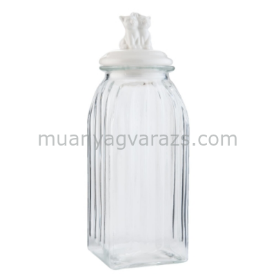 CLEEF.6GL1519 Tároló üveg bordás,kerámia tetővel 10x10x29cm,cicapárral