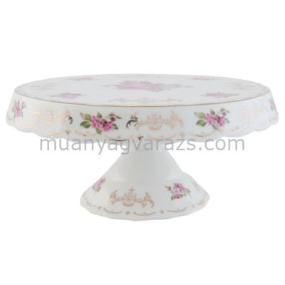 CLEEF.6CE0436 Talpas tortatál porcelán, rózsás, arany mintával, 24x11cm