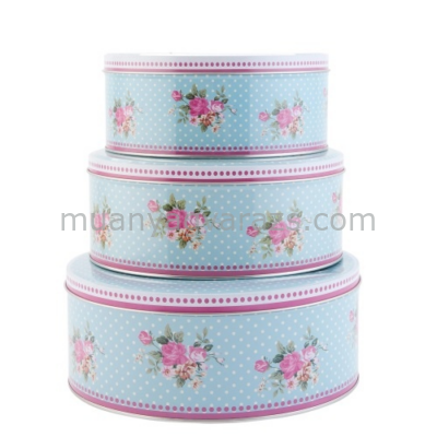 CLEEF.63233 Fém doboz szett kerek,virágos S/3,19x8cm,22x9cm,25x10cm,