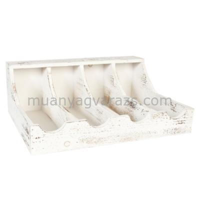 CLEEF.6H0783 Fa evőeszköztartó 40x29x15cm,fehér antikolt