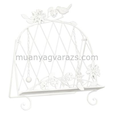 CLEEF.6Y1445 Szakácskönyvtartó virágos-madaras, 33x41x28cm, fehér