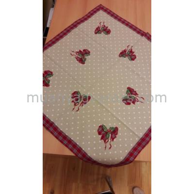 CLEEF.S019.001 Textil asztalterítő 85x85cm, hímzett karácsonyi masnis