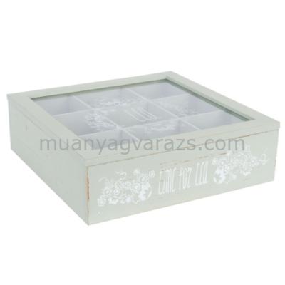 CLEEF.63676 Fa teás doboz üveg tetővel 9 rekeszes 24x24x7cm,zöld