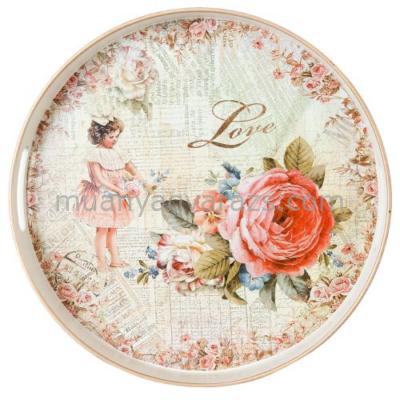 """CLEEF.63713 Müanyag tálca kerek 33x4cm, """" Love """" rózsák kislánnyal"""