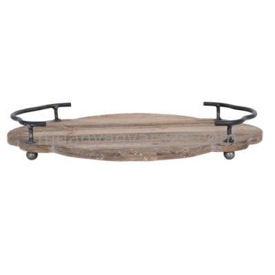CLEEF.6H1301 Natúr fa perem nélküli tálca,tetején két  fém fogóval,36x26x5cm