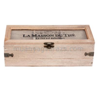 CLEEF.6H1398 Fa teás doboz 3 rekeszes 22x8x8cm,üveg tetővel,La Maison Du Thé