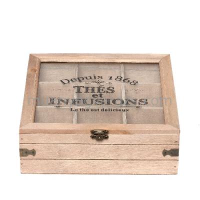 CLEEF.6H1395 Fa teás doboz 9 rekeszes üveg tetővel 23x23x8cm,Thés et Infusions