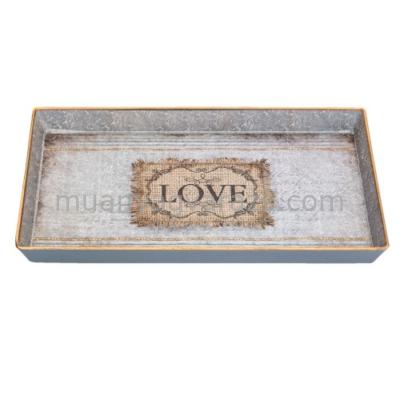"""CLEEF.63847 Müanyag tálca szürke """" Love """", 25x16x2cm"""