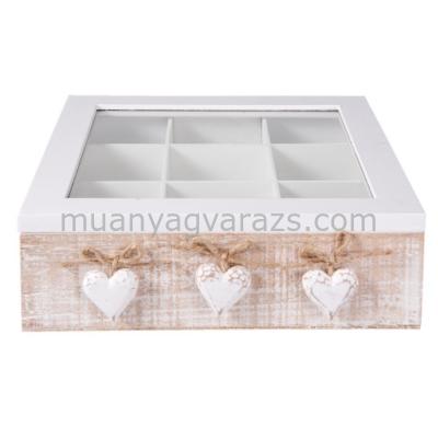CLEEF.6H1595 Fa teás doboz 9 fakkos 24x25x8cm,fehér fa szívvel