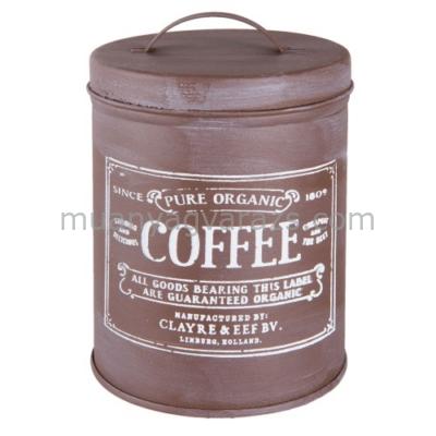 CLEEF.6Y2528 Fém tároló doboz tetővel 10x14cm,Coffee 0,8L
