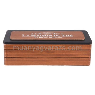 CLEEF.6H1567 Fa teás doboz 3 fakkos fa tetővel 22x8x7cm,barna-fekete