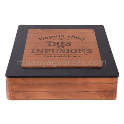 CLEEF.6H1568 Fa teás doboz 9 fakkos fa tetővel 24x24x7cm,barna-fekete