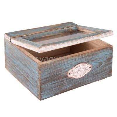CLEEF.6H1577 Fa tároló doboz kék 18,5x12,5x9,5cm