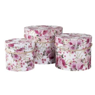 CLEEF.64043 Kartondoboz szett S/3, kerek, rózsaszín rózsás, 20x17cm/17x15cm/14x13cm