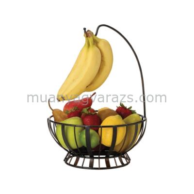 C.T.5164228 Antikolt fekete fém gyümölcskosár banánkampóval,262x262x375mm,Mikasa:Gourmet Basics Wire