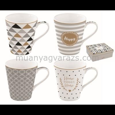 R2S.128CMHA Porcelán bögre 4db-os 260ml, dobozban, Coffee Mania Happy