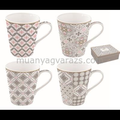 R2S.128CMTG Porcelán bögre 4db-os 260ml, dobozban, Coffee Mania Tiles Grey