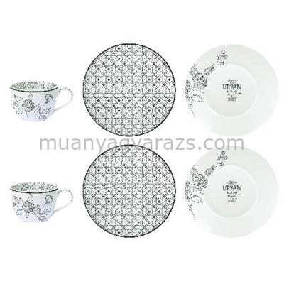 R2S.297URCB Porcelán teás csésze + alj 2 személyes 240ml, dobozban, Urban Chic