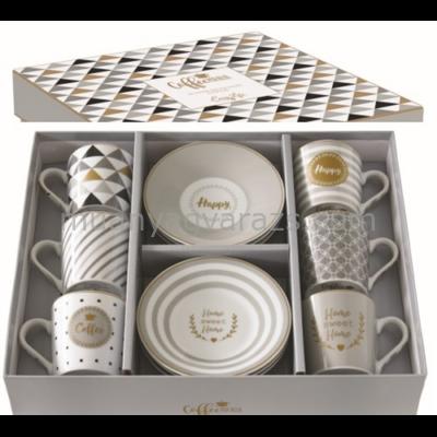 R2S.126CMHA Porcelán espresso csésze+alj 6 személyes,100ml,dobozban,Coffe mania-Happy
