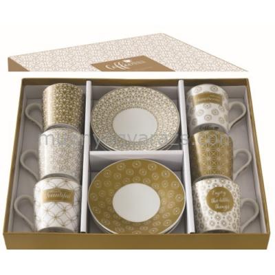 R2S.126CMEN Porcelán espresso csésze+alj 6 személyes,100ml,dobozban,Caffe mania-Enjoy