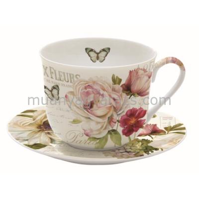 R2S.628FLEU Porcelán reggeliző csésze + alj 400ml, dobozban,  Marche Aux Fleurs
