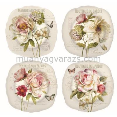 R2S.615FLEU Porcelán desszerttányér szett 4db-os, 20cm dobozban Marche Aux Fleurs