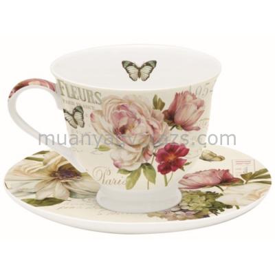 R2S.645FLEU Porcelán teáscsésze aljjal 200ml dobozban, Marche Aux Fleurs