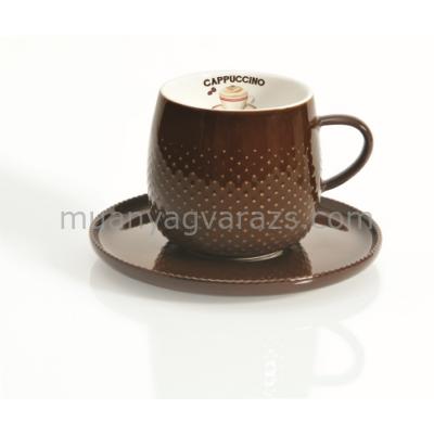 R2S.1303RACO Cappucinós csésze aljjal dobozban, Rain Drop Coffee