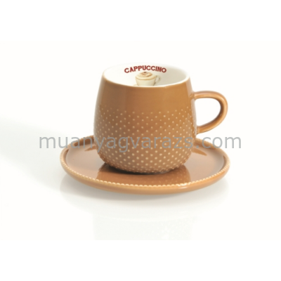 R2S.1303RACS Cappucinós csésze aljjal dobozban, Rain Drop Coffee