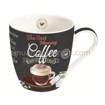 R2S.1010ICTB Porcelán bögre 350ml, dobozban, It's Coffee Time Brown